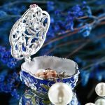 H&D Hinged Trinket Box Jeweled Hand-painted Patterns <b>Jewelry</b> Box Bejeweled Box Collectible for Women (flower) Wedding Home Decor