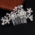 Hot Selling <b>Art</b> <b>Deco</b> Silver Clear Rhinestones Crystals Pearls Flower Leaf Wedding Hair Comb Bridal Hair Accessories Hair <b>Jewelry</b>