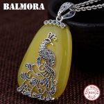 BALMORA 925 Sterling Silver Mosaic Peacock Pendants for Women Vintage Animal <b>Jewelry</b> <b>Accessories</b> Gift Without a Chain MN10949