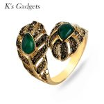K's Gadgets Fashion Red/Green With Stone Rings For Women <b>Antique</b> Gold Color <b>Jewelry</b> Big Leaf Engagement Ring Bagues Femme