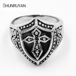 SHUNRUYAN <b>Antique</b> titanium steel Crusader shield men ring Hip-hop rock style stainless steel <b>jewelry</b> ring personality ring