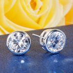 BELLA Fashion 925 Sterling Silver Bridal Earrings 3M/4M/6M/7M/8M Cubic Zircon Stud Earrings Wedding <b>Accessories</b> Party <b>Jewelry</b>