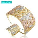 MECHOSEN Luxury Copper <b>Jewelry</b> Sets Width Bracelet Bangle Ring Micro Paved 3 Tones Zirconia Women Wedding Party Hand <b>Accessories</b>