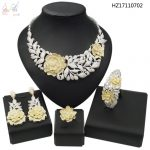 YULAILI Hot Trendy Bride Zircon Two Tone AD <b>Jewelry</b> Sets for Women Wedding Exquisite Elegant <b>Accessories</b>
