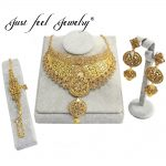 JUST FEEL India Gold Color <b>Jewelry</b> Sets Choker Necklace Earrings Bracelets Nigerian Big African Bridal Wedding <b>Accessories</b> Gift