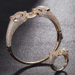 Two leopard Heads Animal Men bangle <b>Jewelry</b> Sets Metal Copper Bangles&Ring Bridal <b>Jewelry</b> Sets Cubic Bracelet <b>Accessory</b> Sets
