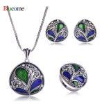 Luxury women Necklace Earrings Ring <b>Jewelry</b> Set Crystal Pendant Plant Shape Enamel <b>Accessories</b> Women Banquet Party Bijoux
