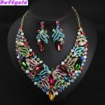 Luxury Colorful Crystal Choker Collarbone Necklace and Earrings Flower <b>Jewelry</b> Sets Evening Dress Women <b>Accessories</b> Duftgold