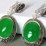 Oval Natural Stone <b>Antique</b> Silver Vintage <b>Jewelry</b> Green EARRING 925 Silver natural gem/stone/coral/opal Marcasite Earrings