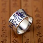 Thai style <b>antique</b> Sterling Silver Ring Mens six words <b>jewelry</b> concave Shaolan explosion of Buddhist text