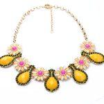 Yellow Orange Green Cateye Flower Necklace Collares Ethnic Bohemian <b>Jewelry</b> Women Statement Necklace <b>Accessories</b>