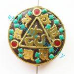 (Min. Order is $10)3pcs/lot Nepal Tibetan Type Manual <b>Antique</b> Bead, Flat Round Brass Embed Imitation Turquoises H662782 28x8mm