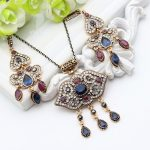 Ethnic Summer Style Women NecklaceTurkish Lock <b>Jewelry</b> <b>Antique</b> Gold Color Rhinestone Resin Collarbone Necklace Ladies Vintage