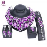 OUHE Fashion Indian Jewellery Bohemia Purple Crystal Necklace Sets Bridal <b>Jewelry</b> Brides Party Wedding <b>Accessories</b> Decoration