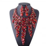 luxurious statement necklace earrings set for bride wedding dress <b>jewelry</b> sets for women party red clolr <b>jewelry</b> <b>accessories</b>