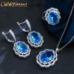 CWWZircons Vintage Women Costume <b>Accessories</b> Luxury Big Oval Light Blue Crystal <b>Jewelry</b> Sets With Cubic Zirconia Stones T012