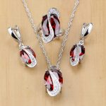 Mystic Oval Red Zircon White Crystal 925 Silver <b>Jewelry</b> Sets For Women Wedding <b>Accessories</b> Earrings/Pendant/Necklace/Rings T078