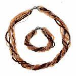 Free Shipping NEW!! Czech Seed Beads Brown Crystal Woven Necklace And Bracelet <b>Jewelry</b> Set New Fashion <b>Jewelry</b> Dress <b>Accessories</b>