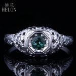 HELON Solid 14K White Gold Verdant Green Tourmaline Antique <b>Jewelry</b> Engagement Wedding Ring Antique Vintage <b>Art</b> <b>Deco</b> Women Ring