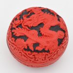 Exquisite Chinese Flower Red Cinnabar Lacquer Dragon Auspicious <b>Jewelry</b> Box