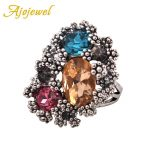 Ajojewel #7-9 <b>Antique</b> Silver Plated Luxury Stone <b>Jewelry</b> High Quality Vintage Big Colorful Crystal Rings For Women