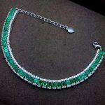 Luxurious link natural green emerald Bracelet Natural gemstone bracelet S925 <b>silver</b> Romantic woman girl party gift fine <b>jewelry</b>