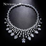 NEWBARK Silver Color Choker Necklaces Luxury Statement Crystal Rhinestone Bridal <b>Jewelry</b> American European Sets <b>Accessories</b>