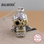BALMORA 100% Real 925 Sterling Silver <b>Jewelry</b> Skull Pendants for Necklaces Women Men <b>Accessories</b> Gifts Silver Pendant SY13010