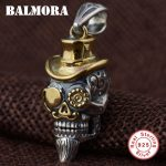BALMORA 100% Real 925 Sterling Silver Punk Skull with a Hat Pendants for Necklace Men <b>Accessories</b> Fashion Cool <b>Jewelry</b> SY13011