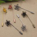 40pcs/Lot 18*7mm flower pedal Brooches <b>Antique</b> Bronze/Silver/Gold vintage cabochon pin base blank settings diy handmade <b>jewelry</b>