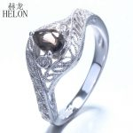 HELON Sterling Silver 925 Flawless Smokey Quartz Pear 5x4mm Engagement Natural Diamonds Halo Vintage <b>Antique</b> Fine <b>Jewelry</b> Ring