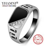 YHAMNI Original Classic Gold Color Rings For Men <b>Antique</b> Natural Black Stone CZ Engagement Ring Men <b>Jewelry</b> Accessories YR0379