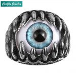 Blue Devil Eye Claw Rings For Men Retro 316L Stainless Steel Viking Punk Rebel <b>Antique</b> Men's Biker Finger <b>Jewelry</b> Gift Wholesale