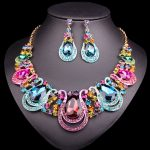 Fashion Indian Necklace Earrings Sets Bridal <b>Jewelry</b> Sets Rhinestones Crystal Party Wedding Costume <b>Accessories</b> for Brides Women