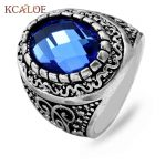 KCALOE Women <b>Jewelry</b> Luxury Blue Crystal Cubic Zirconia Rings Tibet Silver Color Vintage <b>Antique</b> Big Ring Oval With Stone Rings