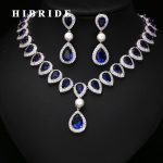 HIBRIDE Elegant Blue Crystal Dubai <b>Jewelry</b> Sets Micro Cubic Zircon Pave Necklace and Earring Set Wedding Dress <b>Accessories</b> N-224