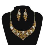 bridal necklace earrings set brown flowers wedding Evening Party <b>jewelry</b> set Europe style Women Necklace <b>accessories</b>
