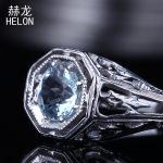 Aquamarine Ring 925 Sterling Silver <b>Art</b> <b>Deco</b> Vintage Antique Style Anniversary Solitaire Wedding Ring Fine <b>Jewelry</b> Women