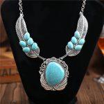 Fashion bohemia necklace <b>jewelry</b> Boho Hollow real stone high quality <b>Jewelry</b> Chain Color <b>Antique</b> Silver Bohemian Necklace Women