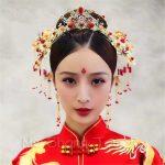 Red Bridal Wedding Hairwear Vintage Chinese Wedding Tiaras Hair Piece Ancient Princess Hair Stick <b>Accessories</b>