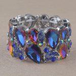 Blue AB Crystal Bangle for women man elastic thread bracelet rhinestone hand <b>jewelry</b> leaf design party show <b>accessories</b>