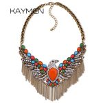 KAYMEN New Statement Eagle Necklace <b>Antique</b> Golden Color Plated Inlaid Resin and Rhinestones Fashion Choker Necklace for Women