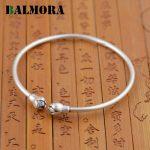 BALMORA Authentic 990 Pure Silver <b>Jewelry</b> Retro Lotus Bud Open Bangles for Women Bracelets <b>Accessories</b> Gifts Bijoux SY50181