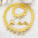 European Fashion Hot 24 Gold <b>Jewelry</b> Sets Charm Bride Crystal Necklace Ring Bracelet for Women Italian Luxury Wedding <b>Accessory</b>