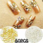 50 Pcs 3D Hollow Nail <b>Art</b> Alloy Tips Decoration <b>Jewelry</b> Glitter Rhinestones UV Gel nail <b>art</b> <b>Deco</b> nail <b>art</b>