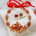 New Red Crystal Tasteful Wedding <b>Jewelry</b> Set Rhinestone Pearl Beaded Gold Color Necklace + Earrings Glamorous Choker 2018 XL031