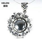 Flower Women Pendant Sterling Silver 925 <b>Art</b> <b>Deco</b> 12mm Round Bead or Pearl Semi Mount Fine <b>Jewelry</b> Thai Silver