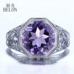 HELON 10mm Round Shape 3.7ct Amethyst Sterling Silver 925 Engagement Wedding Ring <b>Art</b> <b>Deco</b> Style Vintage Women's <b>Jewelry</b> Ring