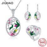 Flower <b>Jewelry</b> Set Pink Rose <b>Jewelry</b> enamel Rings Earrings Pendant 925 Sterling Silver Party Fashion for Women <b>Accessories</b>