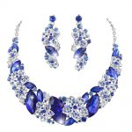 Royal blue color statement necklace earrings set bridal wedding <b>Jewelry</b> set For women party rhinestone <b>Jewelry</b> <b>accessories</b>